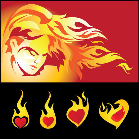 quemadura: Llama de amor y chica caliente  Vectores