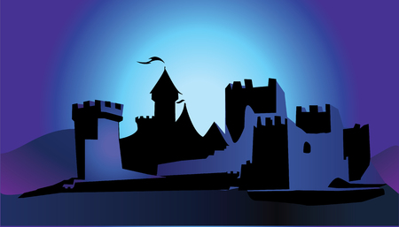 horror castle: castle in dark Illustration