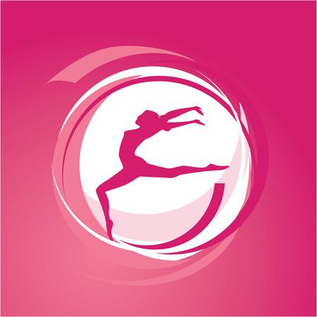 gymnastics silhouette: Sport theme - Woman gymnastics silhouette on the move illustration Illustration