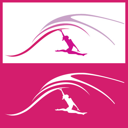 gymnastics silhouette: Sport theme - Woman gymnastics silhouette illustration, positive and negative overwiev