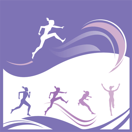 skipping: Sport theme - Woman gymnastics silhouette illustration different positions