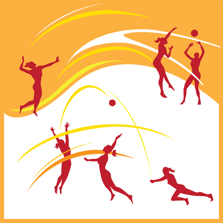 Silhouette of women volleyball player in different poses Vector