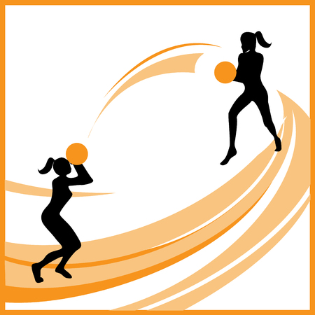 Silhouette of women basketball player in different poses Stock Vector - 6051220