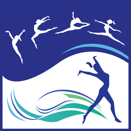 acrobatic: Silhouette of women gymnast in various poses