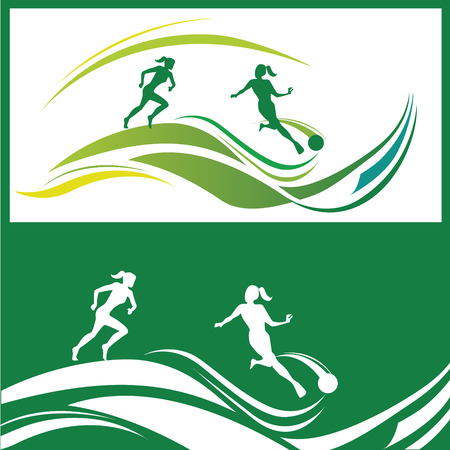 young gymnastics: Silhouette of women football player in different poses