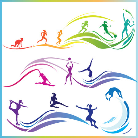 Silhouette of women in various sports disciplines