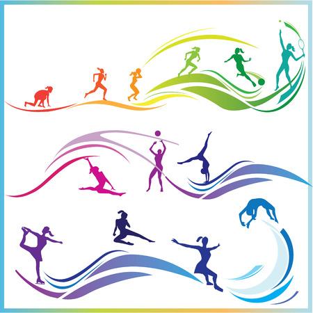 swim race: Silueta de la mujer en diversas disciplinas de deportes Vectores