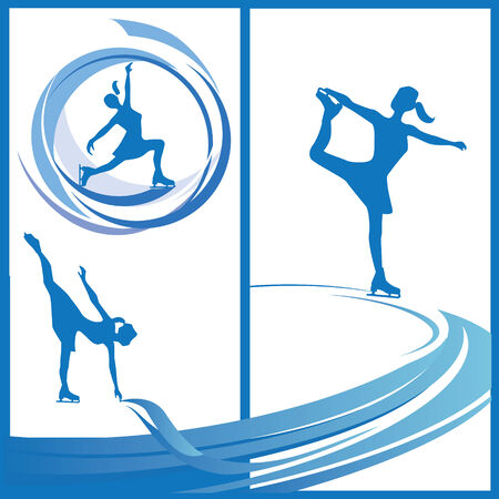 flexible girl: Silhouette of women skater in various poses