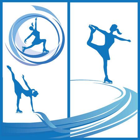 Silueta de patinador de las mujeres en diferentes poses