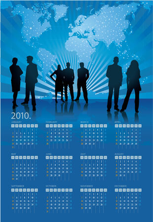 Vector illustration of 2010 calendar with business motive Vector