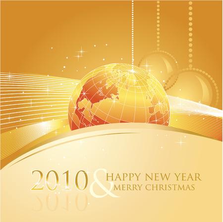 ecard: 2010 anno nuovo biglietto di auguri con movente di affari Vettoriali