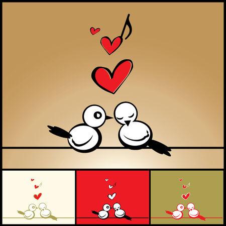 Love, Valentines background with birds Vector