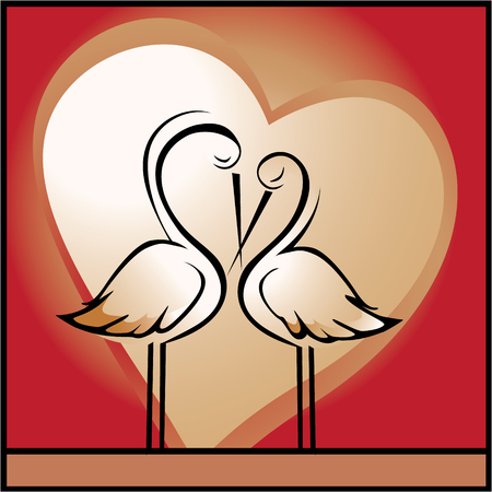 innamorati che si baciano: Amore, sfondo San Valentino con cicogne