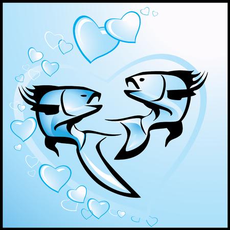 愛、魚とベクトル バレンタインの背景  イラスト・ベクター素材