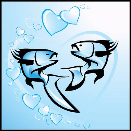 Love, vector valentine background with fishes Vector