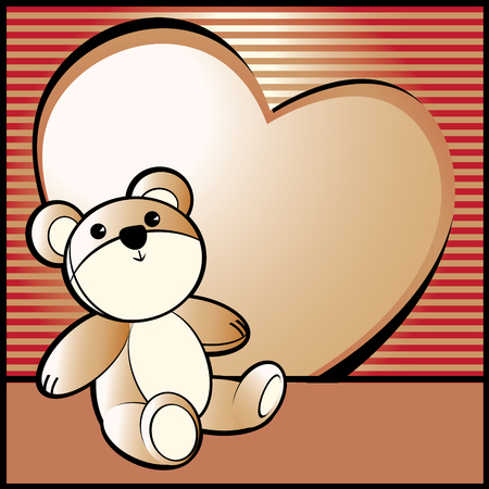 Love, Valentines background with bear Vector