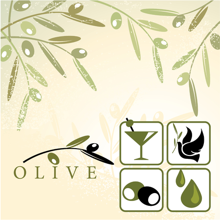 Olive and design elements Vector