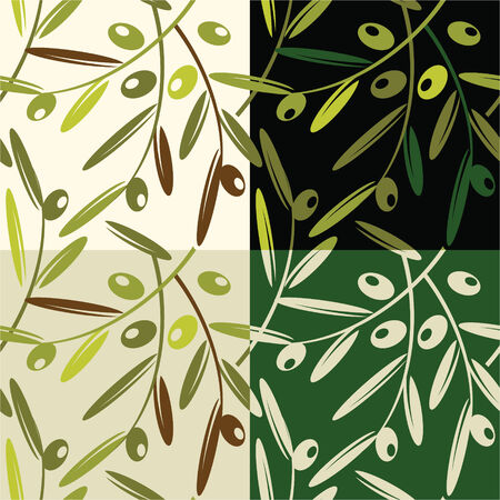 Seamless Retro Pattern with Olives Illustration