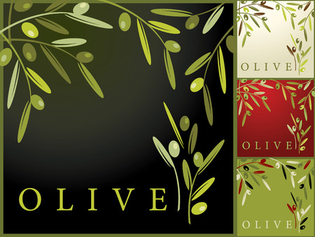 olive leaves: Seamless Retro Pattern with Olives Illustration