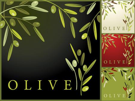foglie ulivo: Serie di retro senza soluzione di continuit� con le olive  Vettoriali
