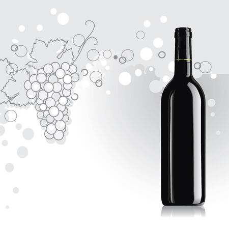 white riesling grape: realistic vector bottle of wine with grape Illustration