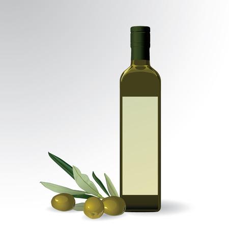 foglie ulivo: illustrazione vettoriale della bottiglia di olio di oliva Vettoriali