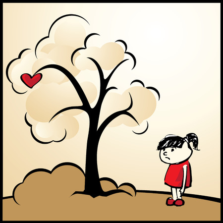 Valentine's Day: Girl with heart-shaped apple Stock Vector - 6284096
