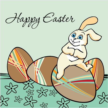 Easter Eggs for Easter holiday celebration and a cute yellow bunny Vector