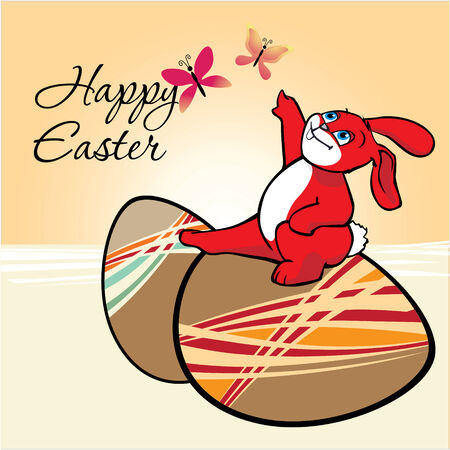Easter Eggs for Easter holiday celebration and a cute red bunny is playing with butterfly Vector