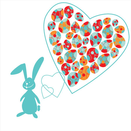 The small bunny and colorful Easter eggs in heart Vector