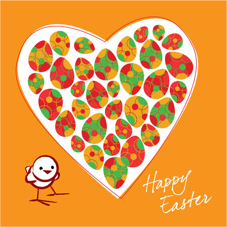 The small chicken and colorful Easter eggs in heart on a orange background Vector