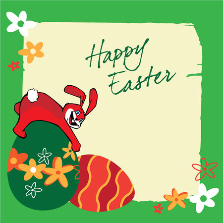 Easter banners with bunnies, colorful eggs, green grass, flowers Vector