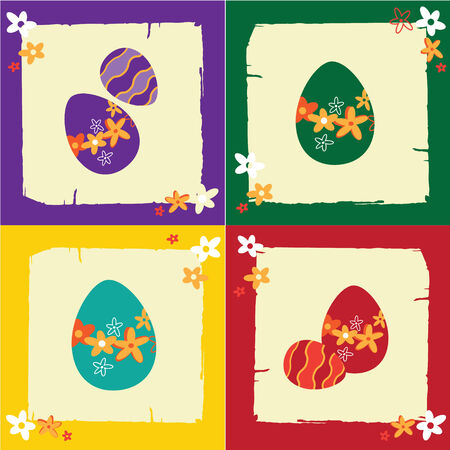 Easter greeting card with eggs and flowers Vector