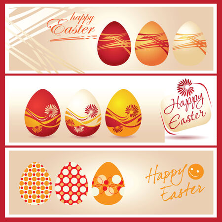 Colorful Easter eggs and logo Happy Easter Vector