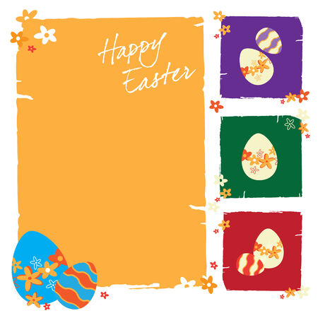cutie: Easter greeting card with colorful Easter eggs Illustration