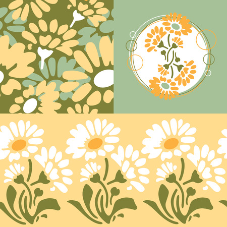 retro floral wallpaper design Vector