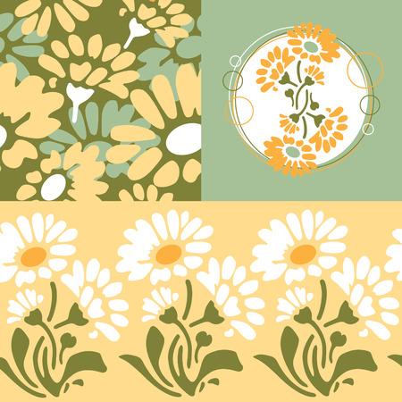 retro floral wallpaper design Vector