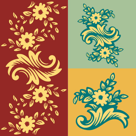 Classic wallpaper with a flower pattern. Fragment Vector