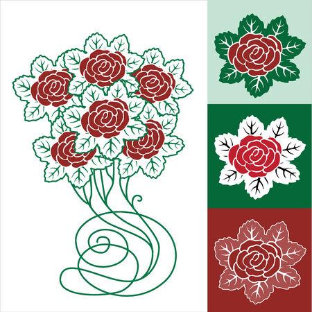 Spring floral frame, Rose Vector