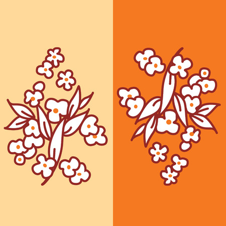 Stylish floral vector pattern in orange and red colors. Spring Vector
