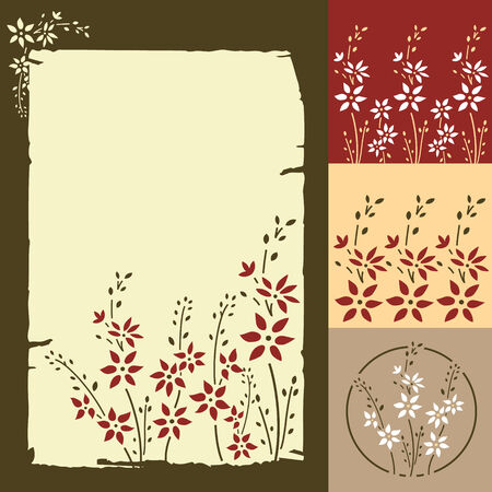 Seamless retro floral pattern. Parchment Vector