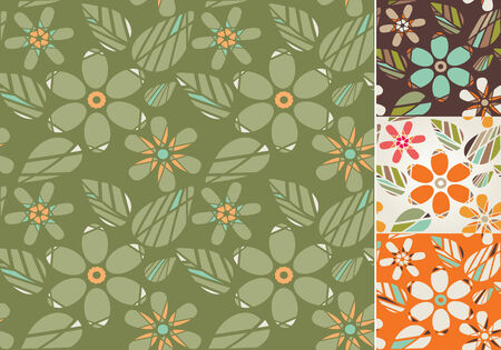 Retro Seamless floral background. Vector illustration. Vector