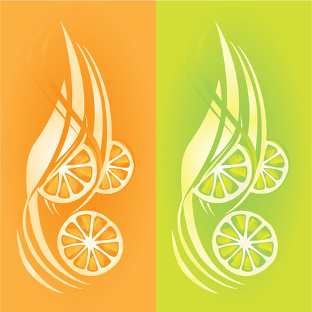 Fresh fuits, Orange and lemon juice Vector