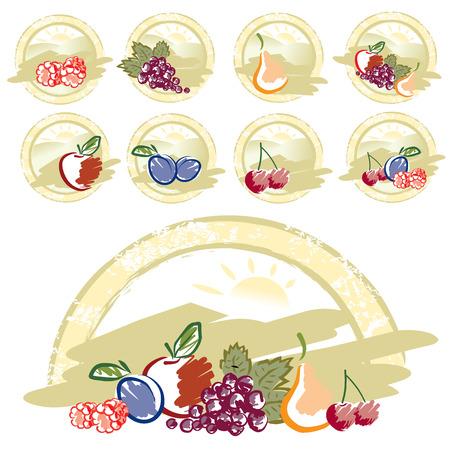 Retro mixed fruits collection