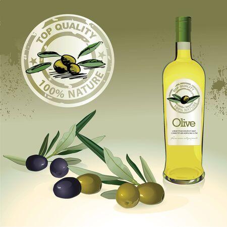 Olive oil bottle, label and olives Vector