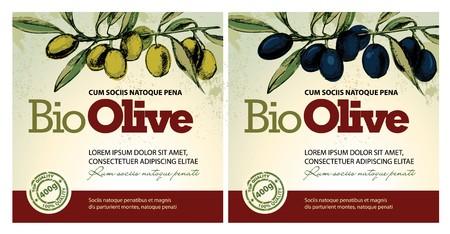 black olive: Olive oil labels
