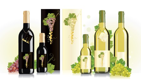 alcohol cardboard: Packaging design for red and white wines