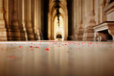 sprinkled: Romantic view of flower petals sprinkled on the floor