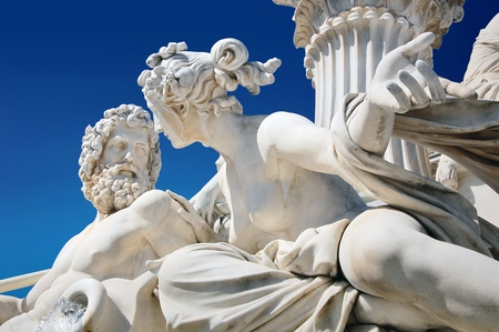 schonbrunn palace: Detail of fountain in front of Austrian parliament, Vienna Stock Photo