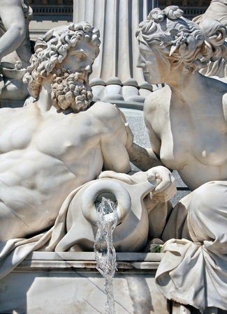 Detail of Athene fountain in front of Austrian parliament photo